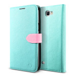 Lific Saffiano Diary for GALAXY Note 2 (Mint+Pink)