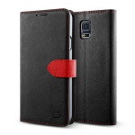 Lific Saffiano Diary for GALAXY S5 (Black+Red)