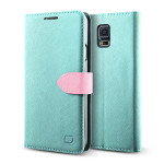 Lific Saffiano Diary for GALAXY S5 (Mint_Pink)