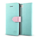 Lific Saffiano Diary for iPhone SE / 5s / 5 (Mint+Pink)