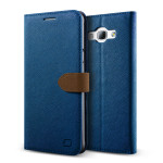 Lific Saffiano Diary for Galaxy A8 (Darkblue_Brown)