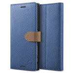 Lific Saffiano Diary for Xperia X Performance (Darkblue+Brown)
