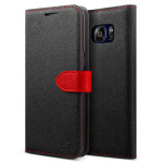 Lific Saffiano Diary for GALAXY S7 Edge (Black+Red)
