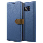 Lific Saffiano Diary for GALAXY S7 Edge (Darkblue+Brown)